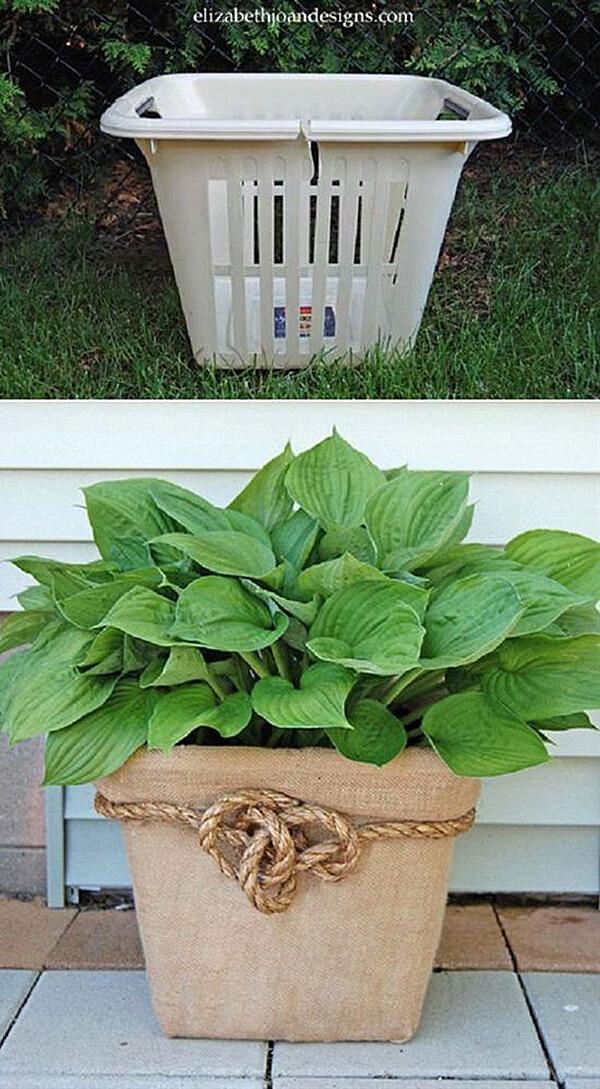 Creative Garden Ideas 30 garden container ideas birdbath planter 6 Upcycled Plastic Laundry Basket Container