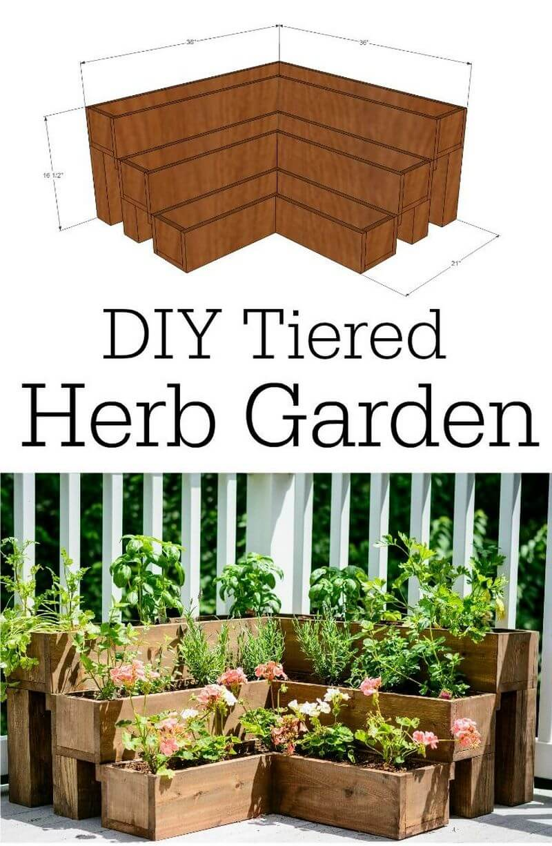 DIY Tiered Wood Herb Garden