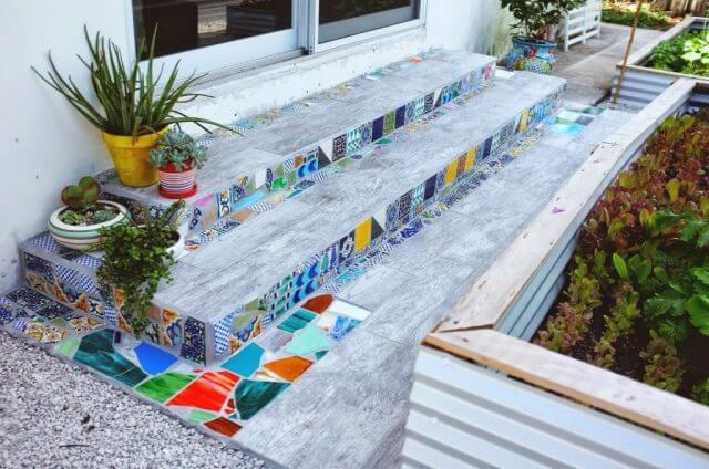 Fun Backyard Mosaic Tile Garden Stairway