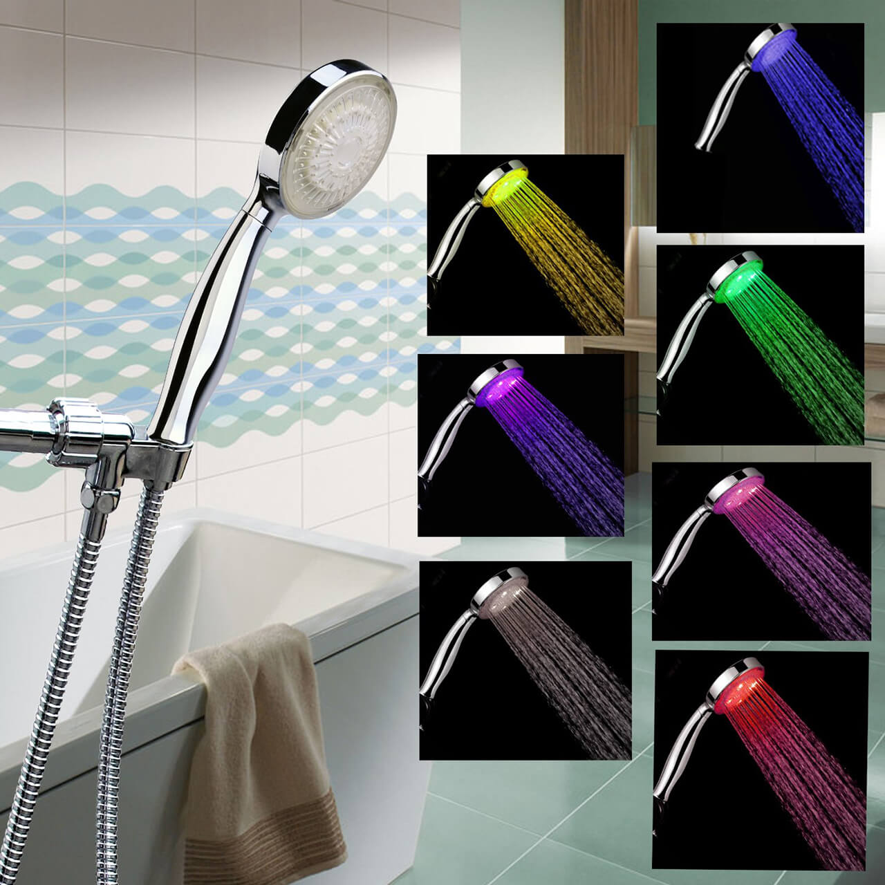 BSB LED Lighted Shower Head With Hose