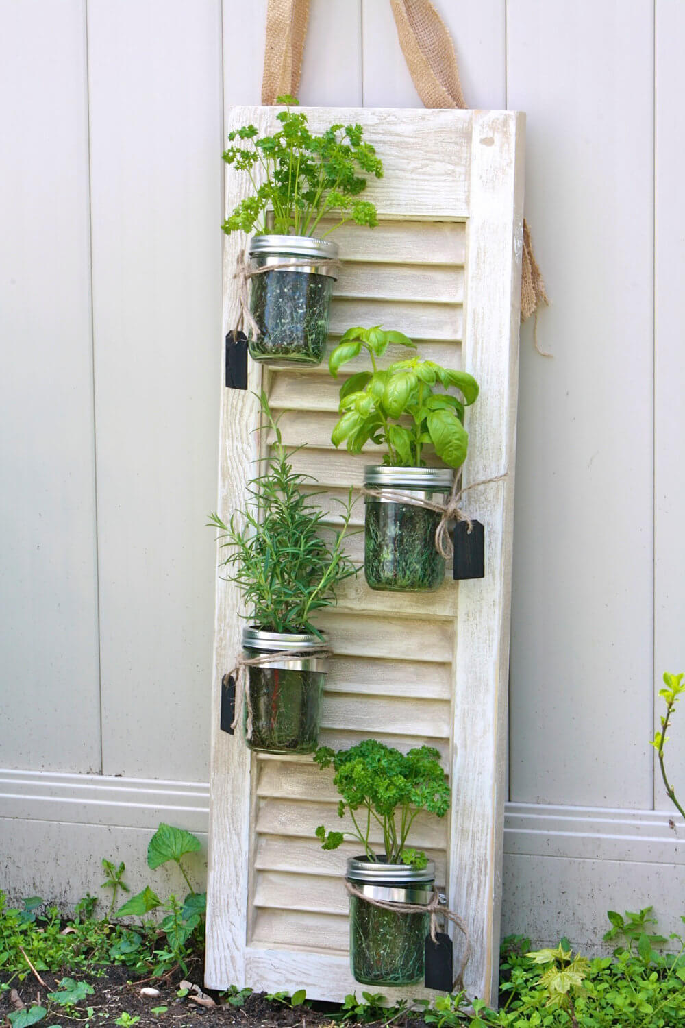 Window Shutter and Mason Jar Herb Garden