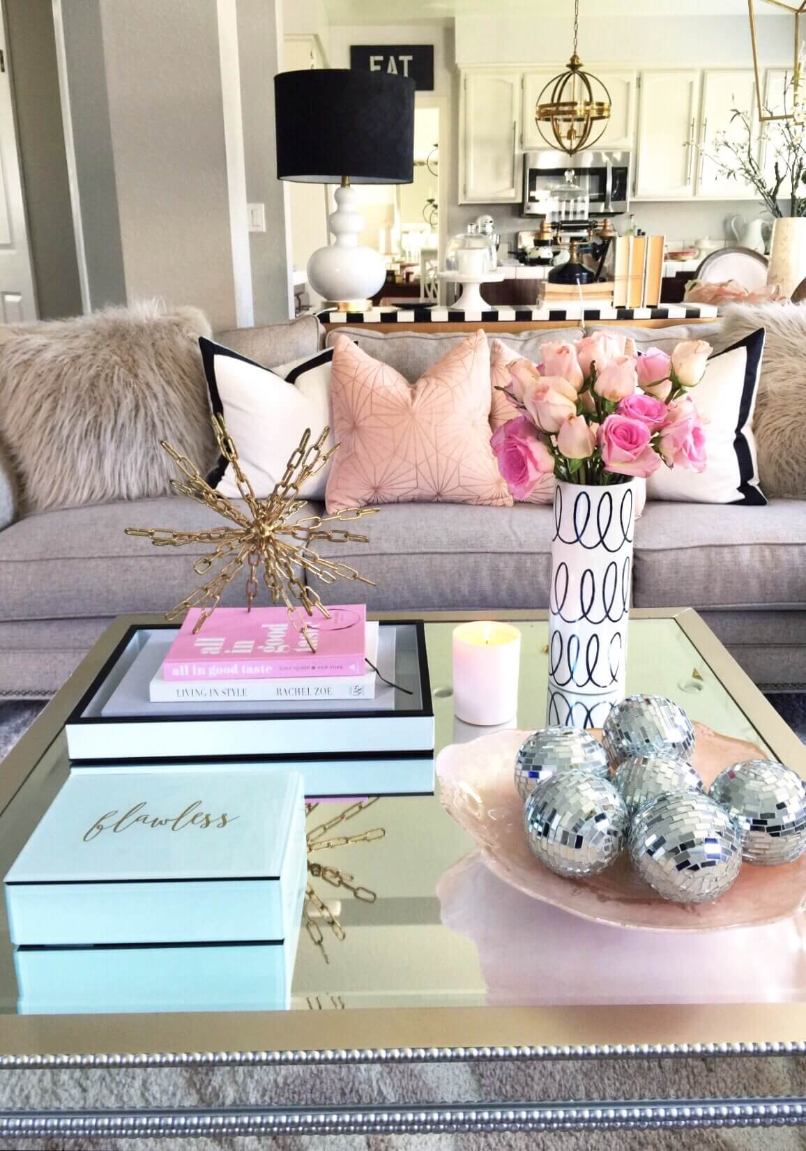 37 best coffee table decorating ideas and designs for 2018 glamorous mirrored table with metallic accent art geotapseo Gallery