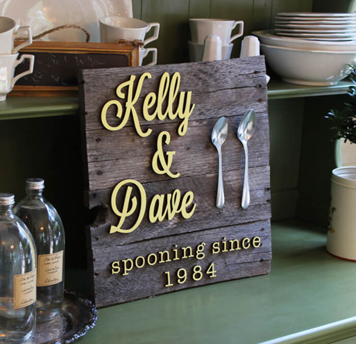 "DIY ""Spooning"" Anniversary Wood Sign"