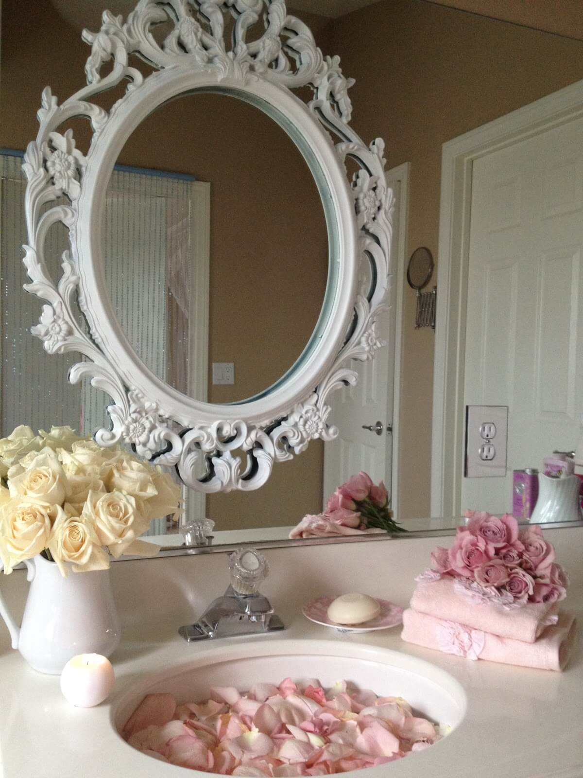 8. Pretty Vintage Above Sink Mirror Frame