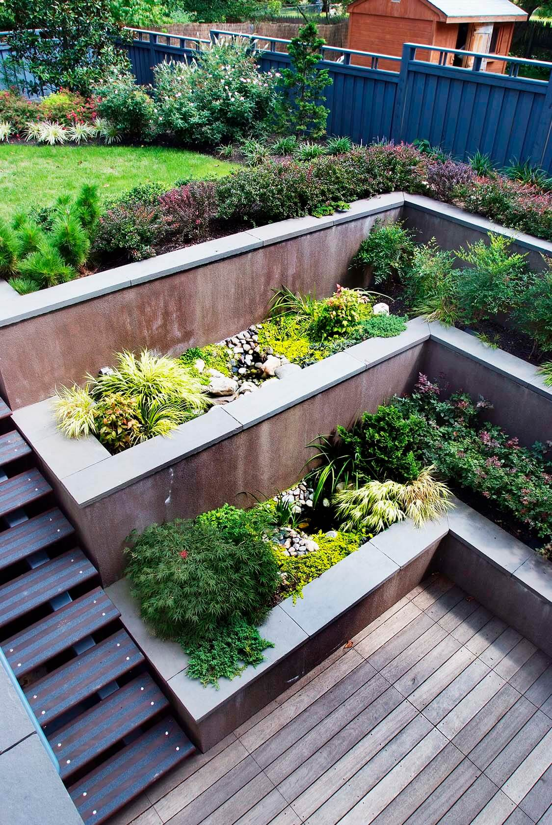 Tiered Concrete Built In Deck Planters