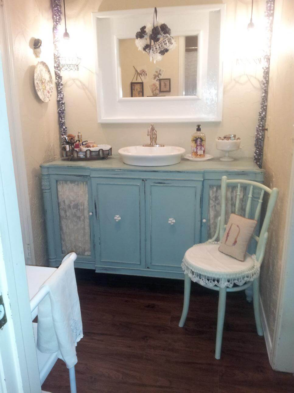 Shabby Chic Bathroom Vanity With Lace Features 28 Best Ideas And Designs  For 2018