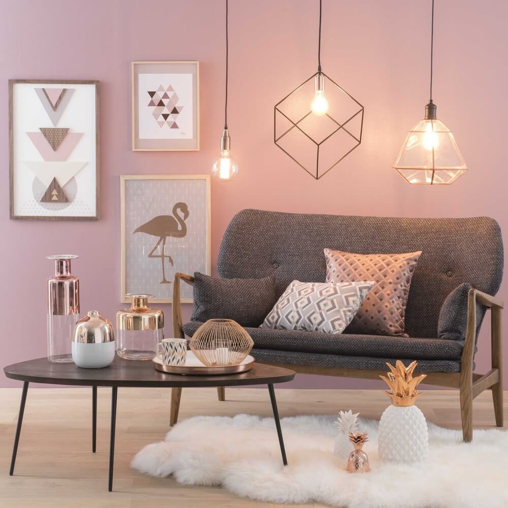 23 best copper and blush home decor ideas and designs for 2018 for Living room ideas rose gold