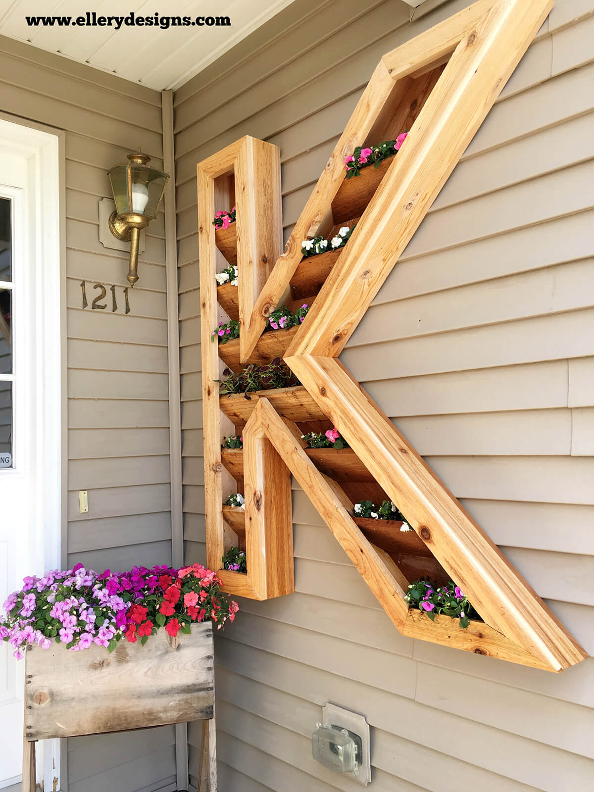 Wood Monogram Mounted Flower Planter