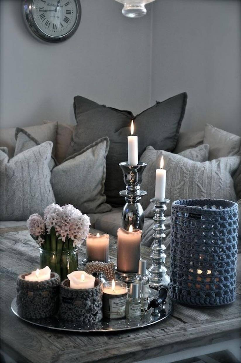 11. Eye Catching Silver And Glass Candlesticks With Fiber Art Accents