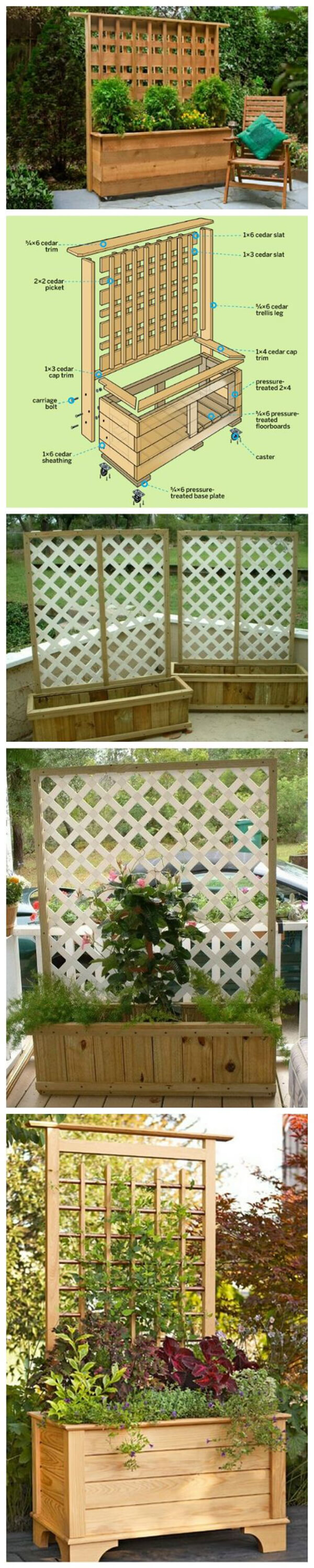 DIY Planter Box with Climbing Trellis