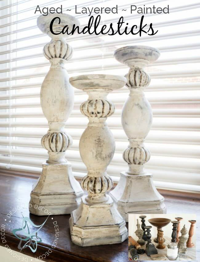 Shabby Manor Layered Candlesticks