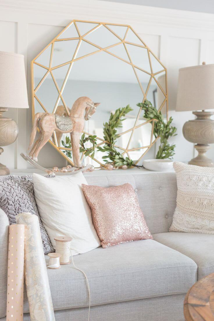16 rose gold and copper details for stylish interior decor for Living room ideas rose gold