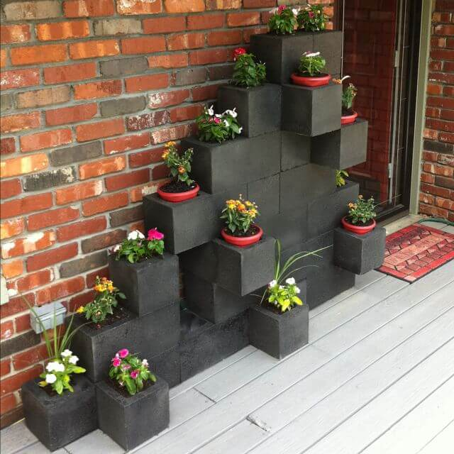 Concrete Block Planter and Decoration