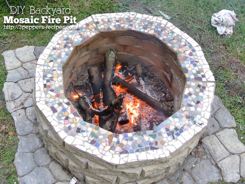 DIY Mosaic Back Yard Fire Pit
