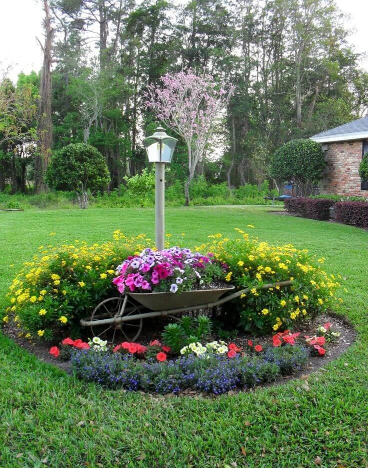 Great Flower Bed With Wheelbarrow Planter
