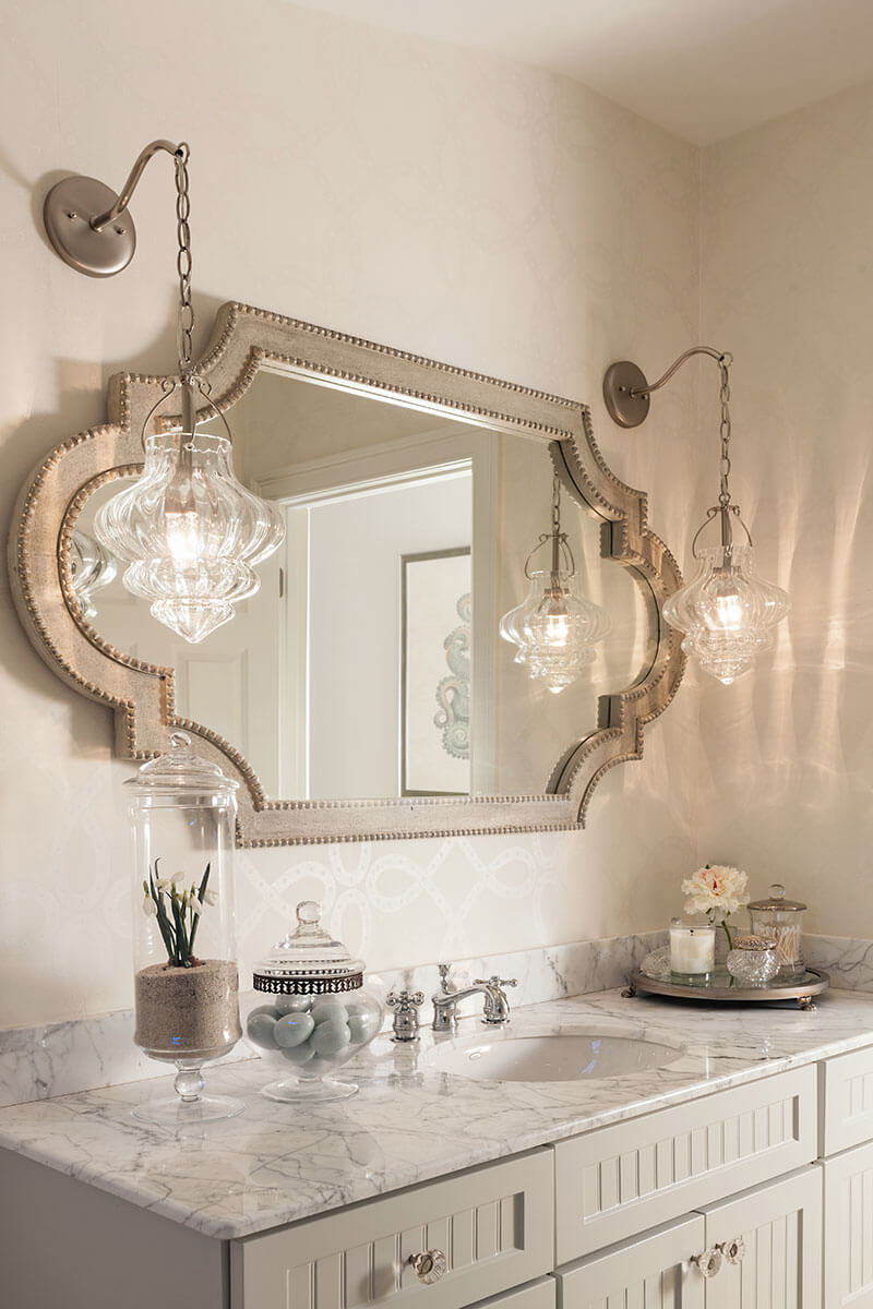 Moroccan Inspired Silver Bathroom Mirror