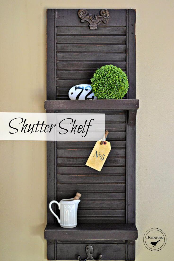 Easy DIY Shutter Shelf with Hooks