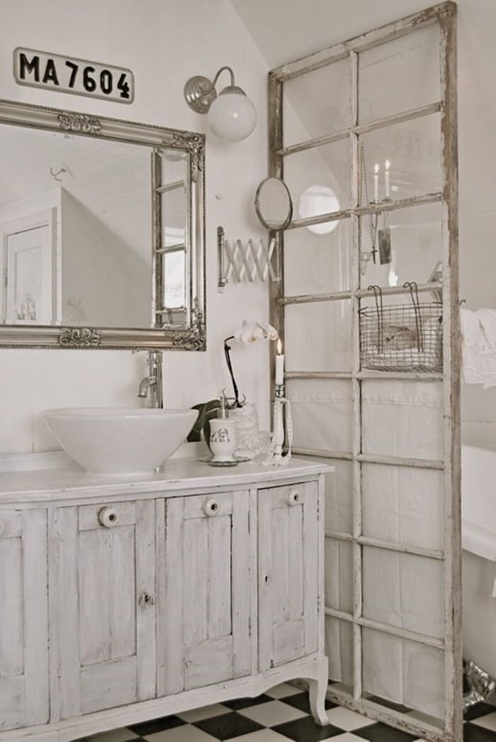 Antique Window Bathroom Privacy Divider