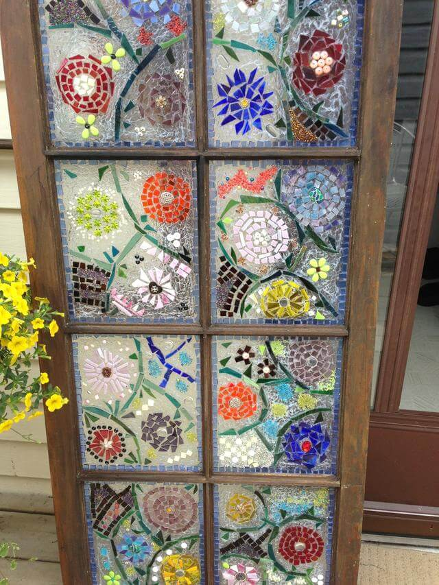 Window pane art projects the image kid for Garden mosaic designs