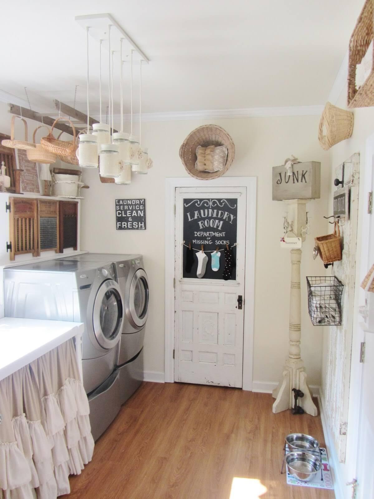 vintage laundry room with wicker basket storage - Laundry Room Decor
