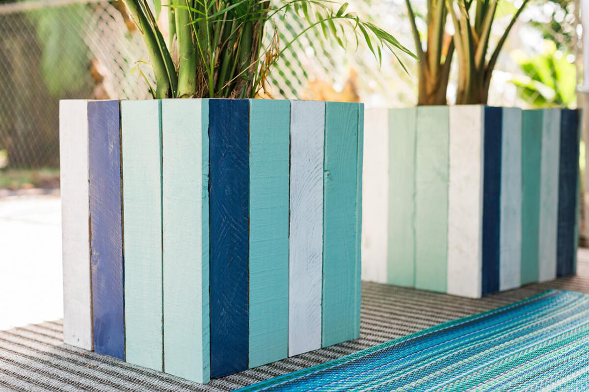 Pretty Painted Wood Planter Boxes