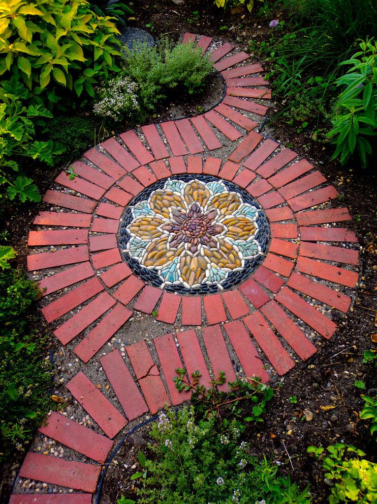 Dramatic Mandala-inspired Stone And Brick Spiral