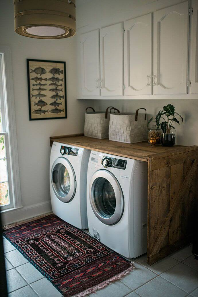 rustic wood crate laundry counter - Laundry Room Decor