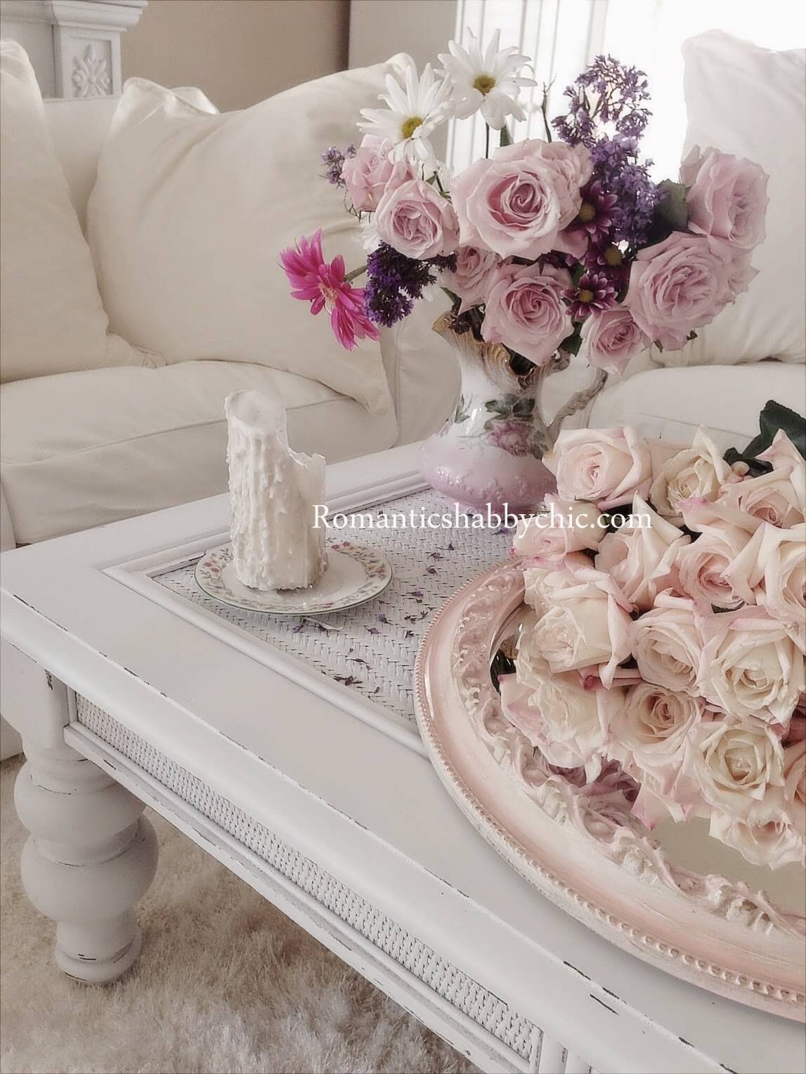 Lace Topped Table Featuring Shabby Chic Country Bouquets
