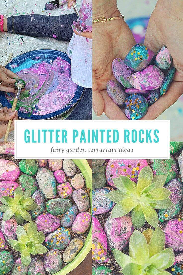 Glitter Painted Rocks for Fairy Gardens