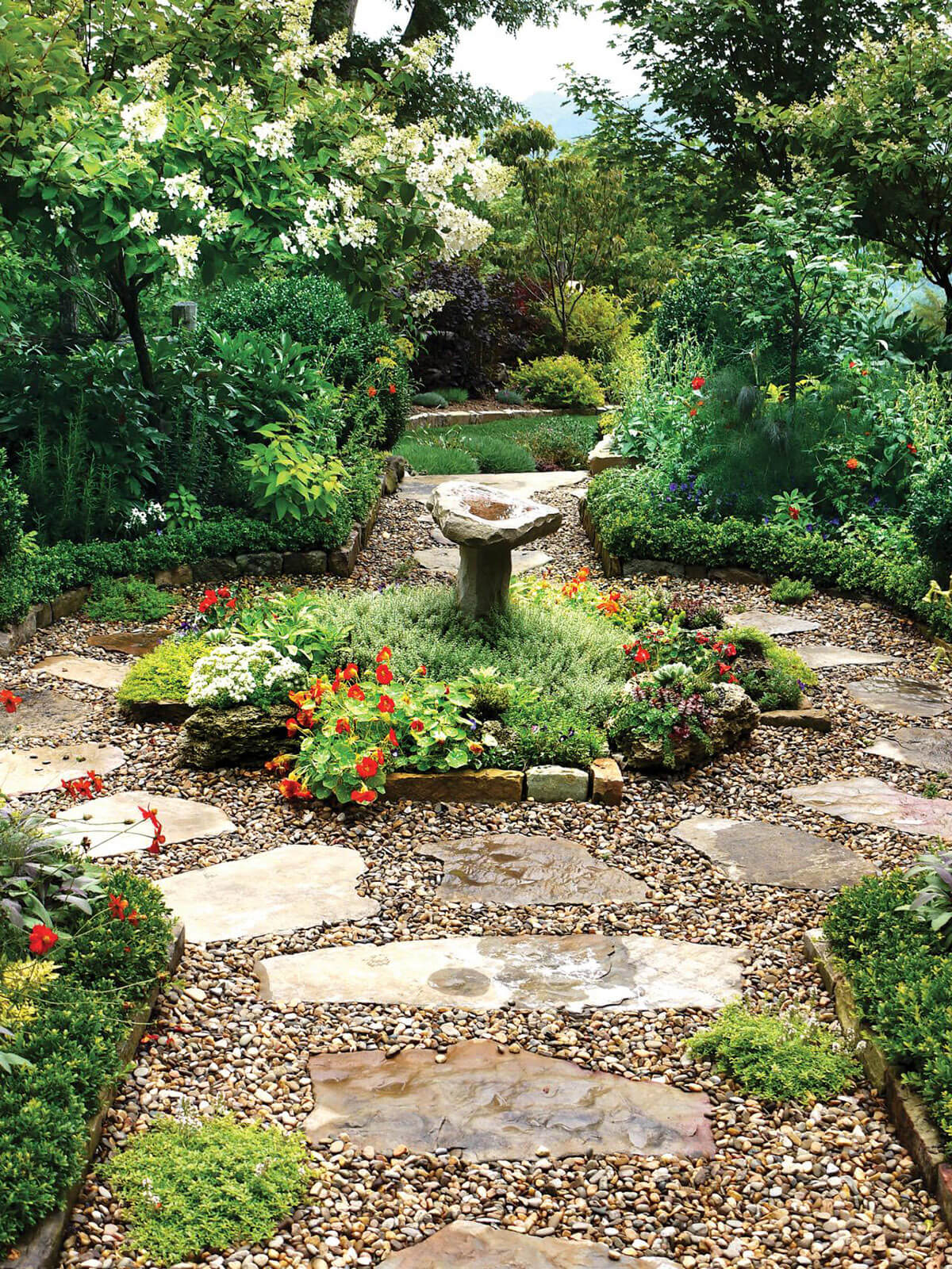 Superbe Romantic Stone Walkway Embraces A Garden Fountain