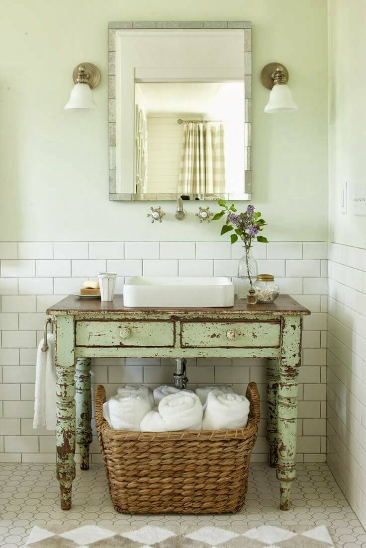Repurposed Antique Table Bathroom Vanity