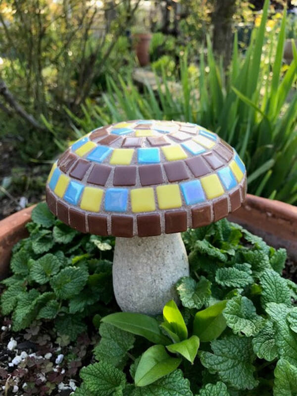 Cute Sculpted Mosaic Mushroom Statuary
