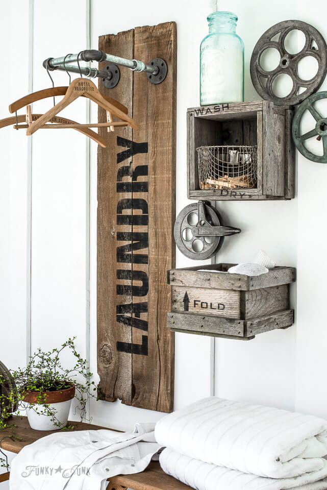 Wood Laundry Sign with Hanger Rack