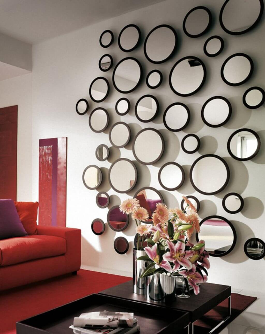 33 best mirror decoration ideas and designs for 2018 playful accent wall of round mirrors publicscrutiny Image collections