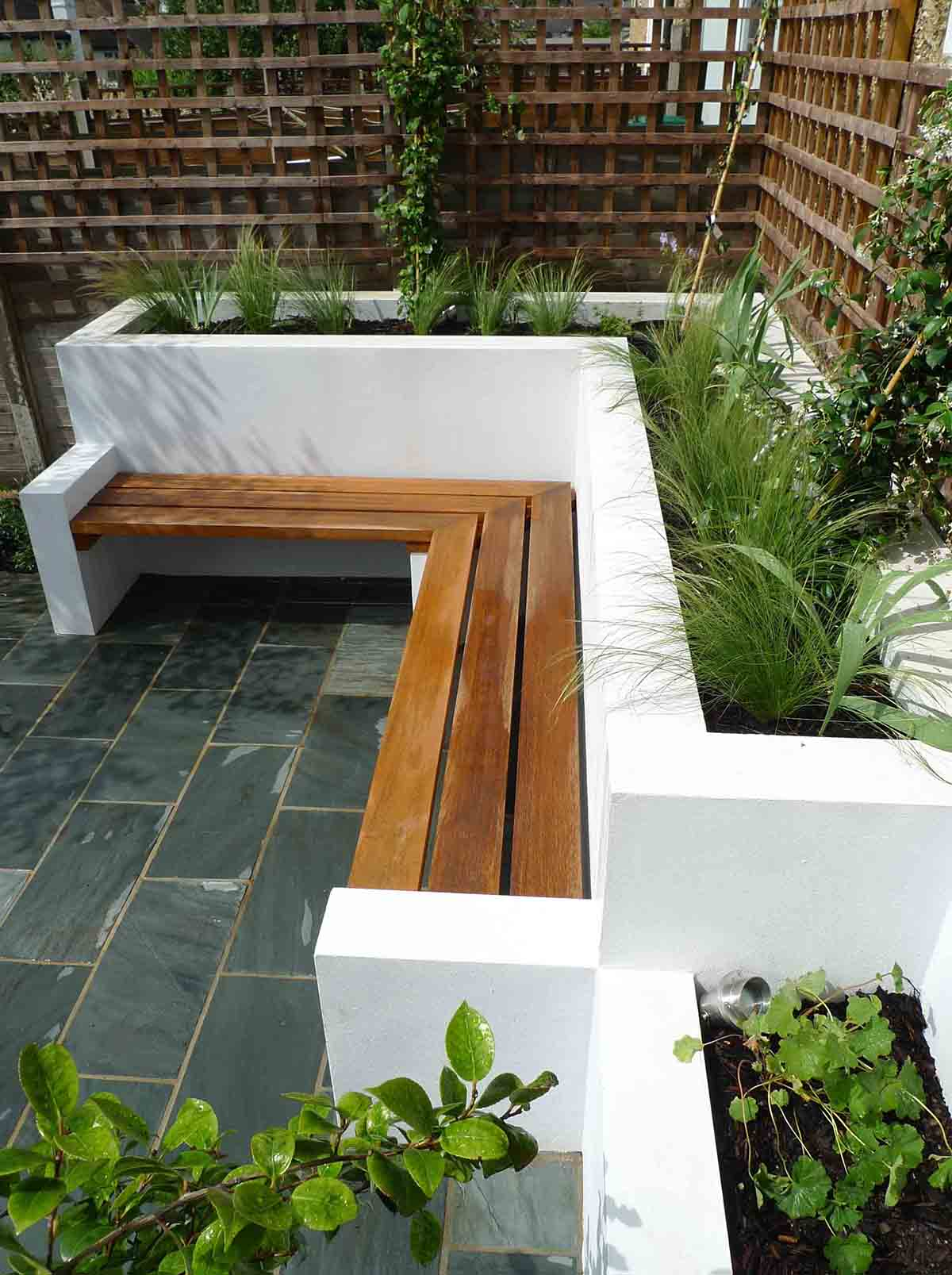Built In Patio Planter With Bench