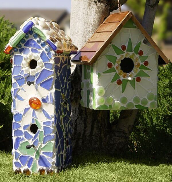 DIY Mosaic Bird House Projects
