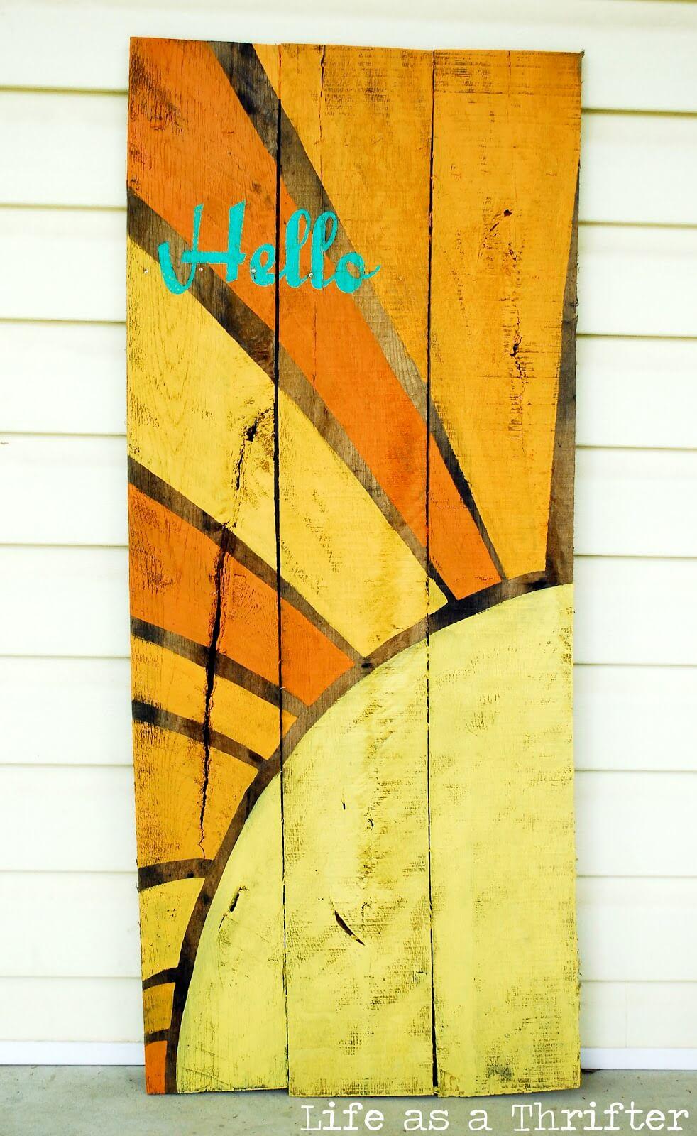 """Hello"" Sunshine Painted Wood Sign"