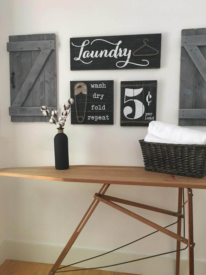3-Piece Vintage Laundry Room Sign Set