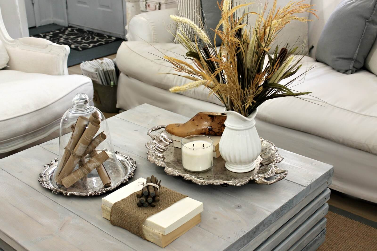 Living room table decorations - 20 Earth Toned Brown And White Natural Element Display With Silver Accents