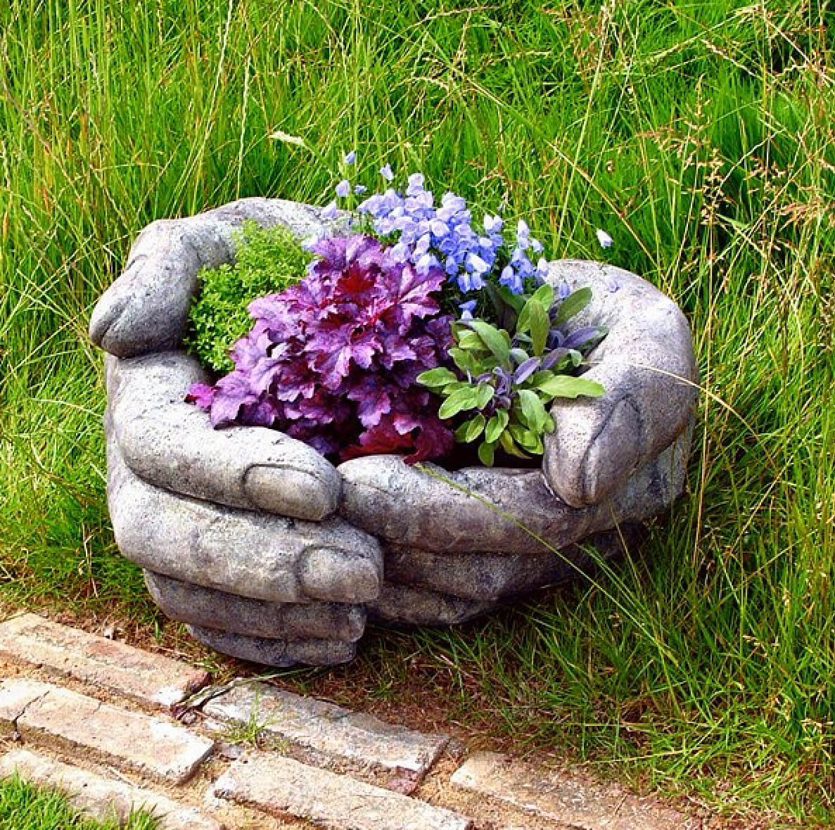 DIY Stone Hand Garden Container Idea
