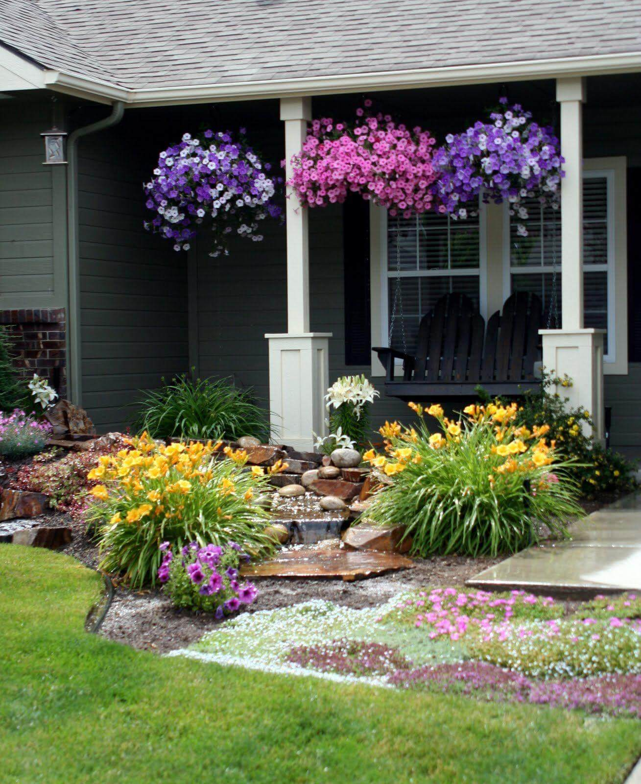 Front Yard Landscape Ideas Part - 38: 20. Porch Full Of Petunias