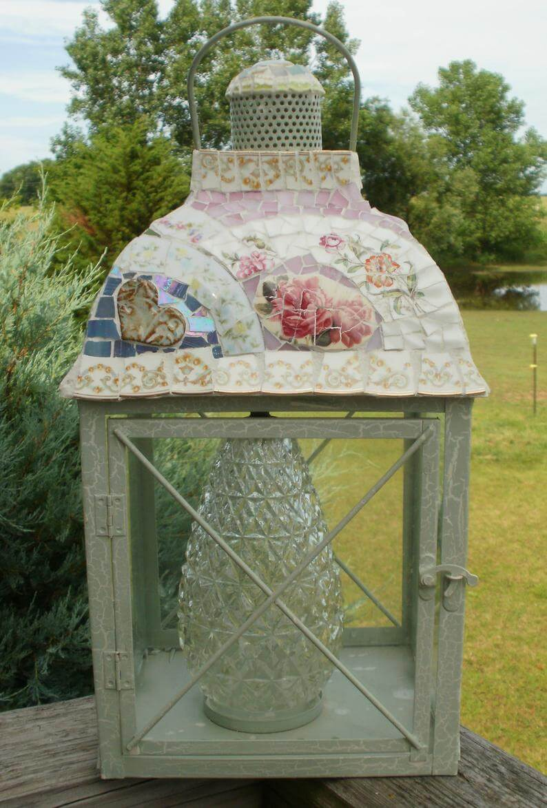 Upcycled Chic Mosaic China Lantern