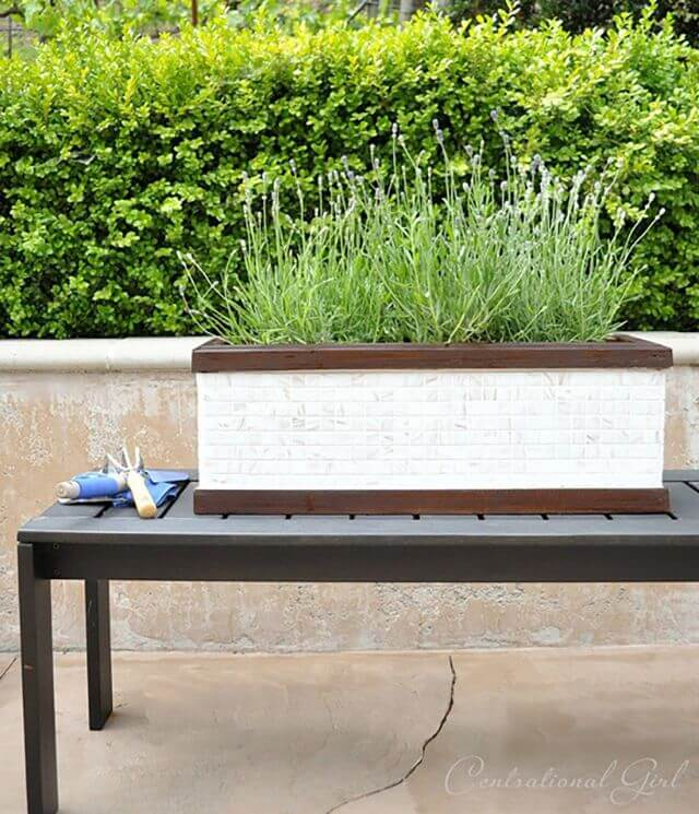 Simple Mosaic Garden Planter Box