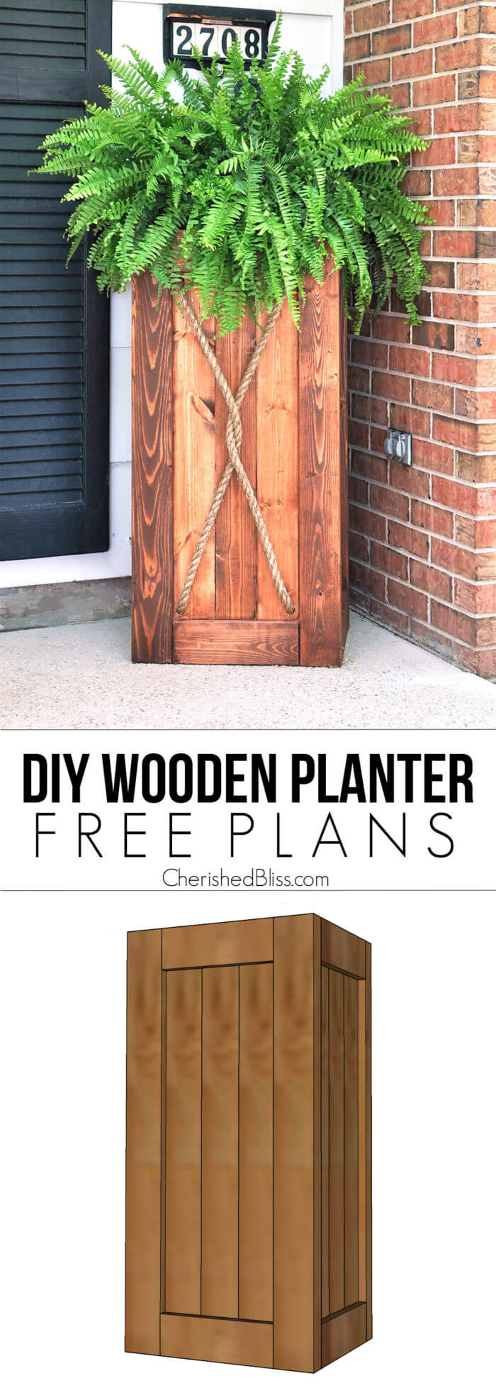 Diy Tall Wooden Porch Planter