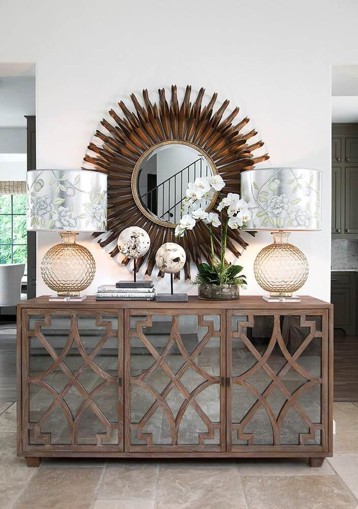 Bronze Sunburst and Mirrored Cabinets