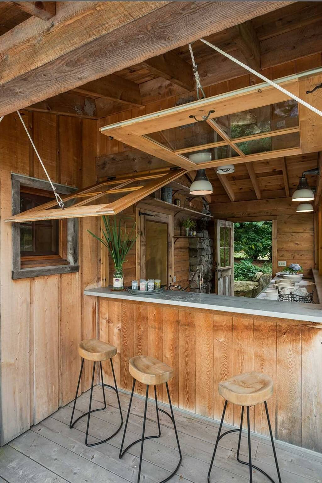 Outdoor Bar with Retractable Windows