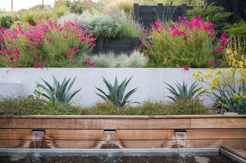 Built-In Planters with Water Feature