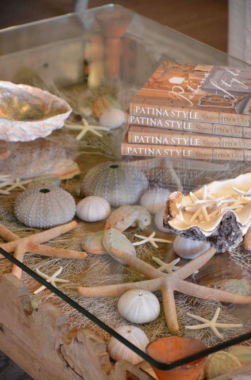 Glass-topped Coffee Table Featuring Beach Finds