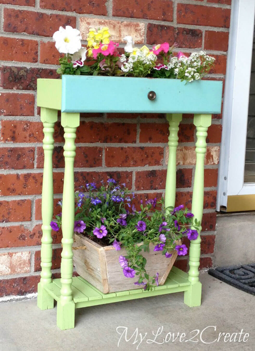 Repurposed Drawer and Table Legs Planter