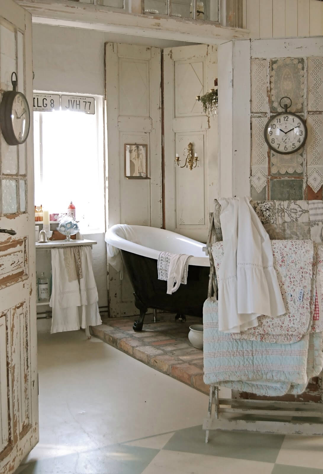 Vintage Bathroom with Quilt Rack